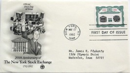 May 17, 1992 First Day of Issue, Art Craft Cover, NY Stock Exchange #11 - $1.98