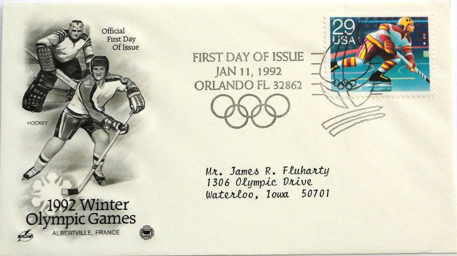 Jan. 11, 1992 First Day of Issue Art Craft Cover, Winter Olympics-Hockey #2