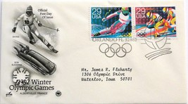 Jan. 11, 1992 First Day of Issue Art Craft Cover, Winter Olympics-Ski/Bo... - $3.48