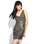 NWT ALEXIA ADMOR Sequin & Silk Shift Black & Nude Dress Small NEW -MAKE ... - $194.24