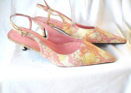 """Women's Size 7M Jessica Pink & Yellow Faux Snakeskin 2"""" Slingback Heels Pointed - $6.85"""