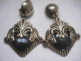 "Vintage  Clip On  3"" Earrings Gold Tone Metalic Button Dangle Smoky Black Accent - $8.12"