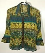 Women's Top Size S Gold Blue Blouse Bling Snaps Jaipur 3/4 Sleeve Pleate... - $11.87