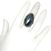 Diamond Pave Black Spinel 925 Sterling Silver Ring Gemstone Jewelry - $538.87