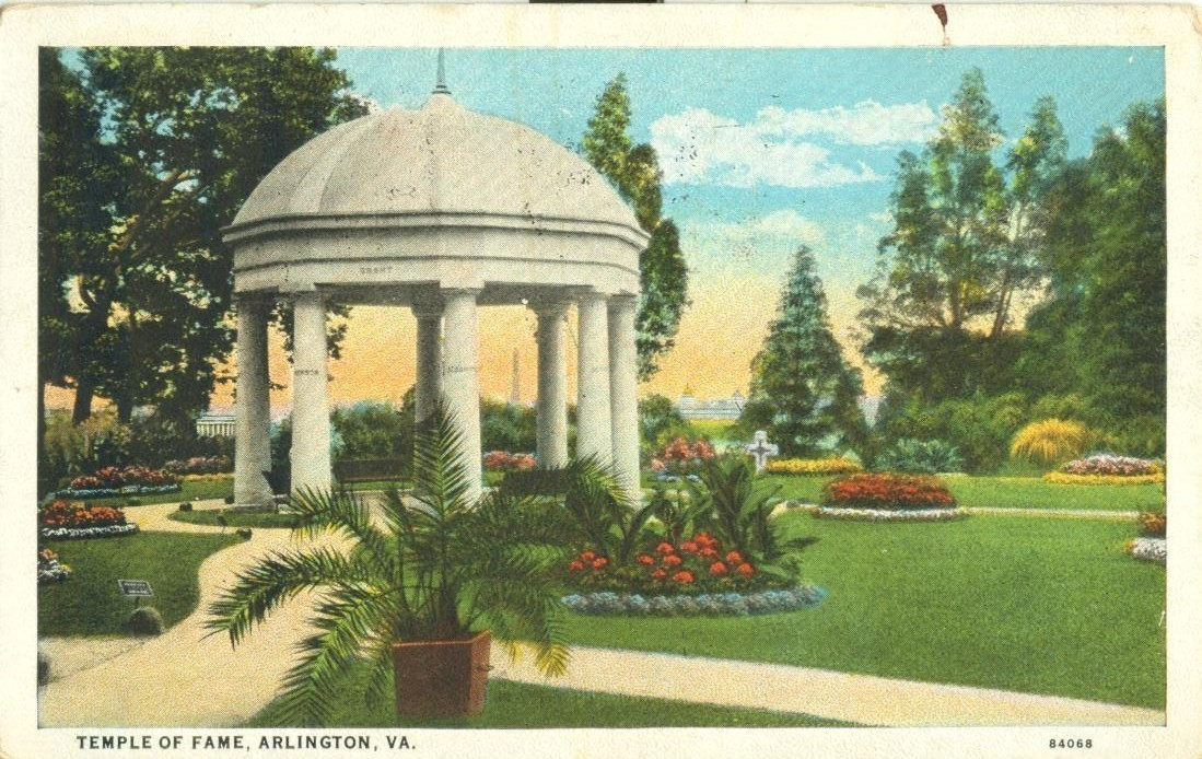 Temple of Fame, Arlington, VA, 1927 used Postcard