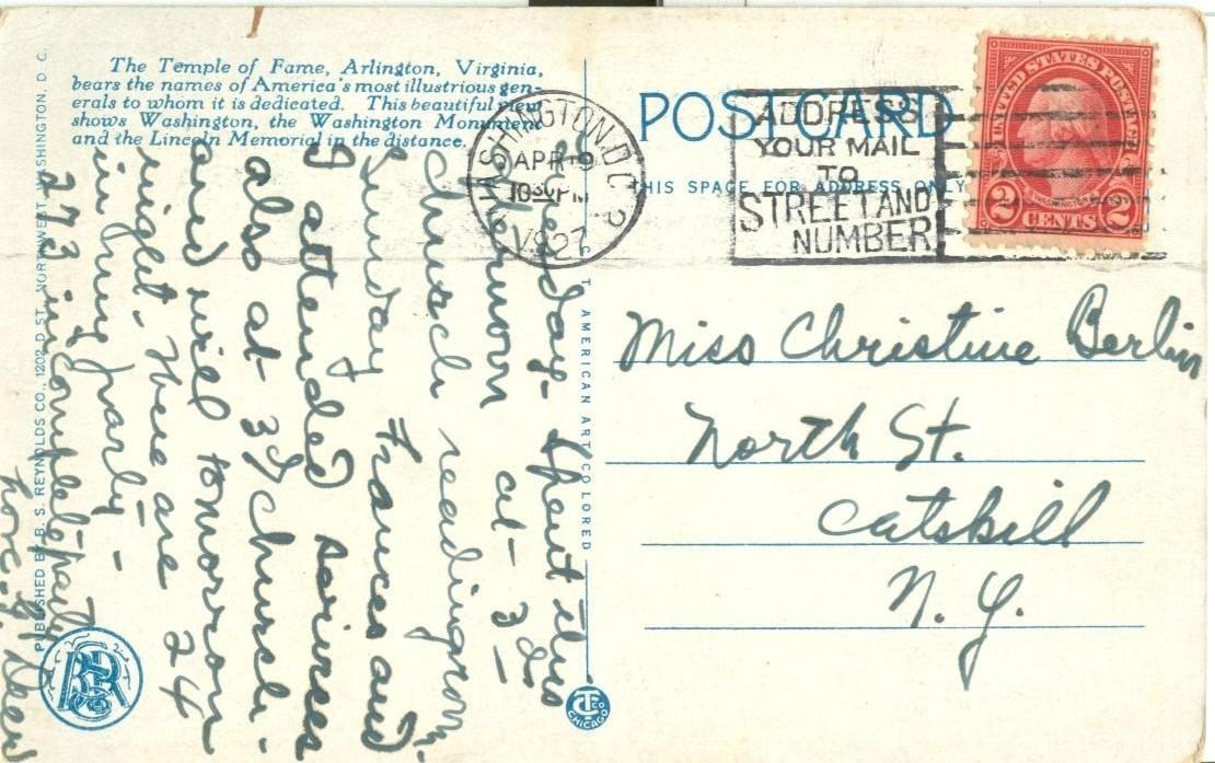 Temple of Fame, Arlington, VA, 1927 used Postcard