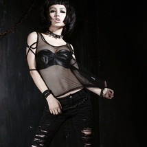 New Sexy Punk Rave Goth T-shirt Top Elastic Net Mesh T286 FAST POSTAGE - $23.00