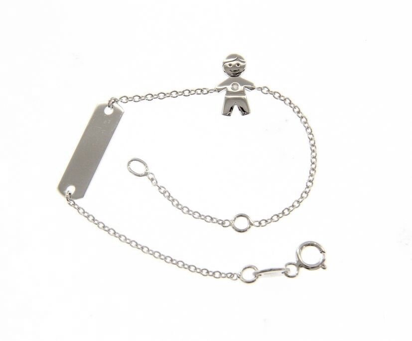 18K WHITE GOLD BRACELET FOR KIDS WITH CHILD BOY CUBIC ZIRCONIA MADE IN ITALY