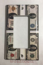 Old US USA 100 Dollars money Bill Light Switch Outlet Wall Cover Plate Decor image 2