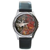Majestic Gray Wolf Unisex Round Metal Watch Gift model 36607713 - $13.99