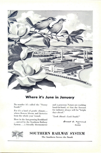 1947 Southern Railway System 2 singing bird graphic print ad