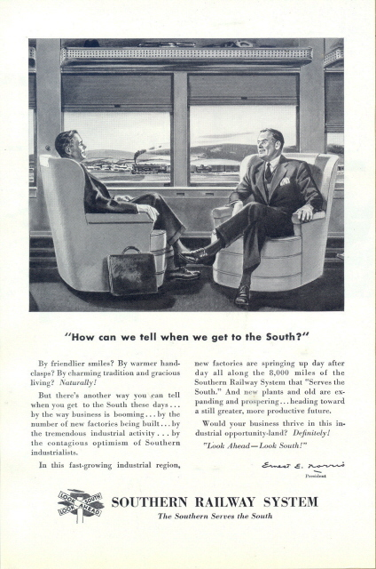 1947 Southern Railway System businessman graphic print ad