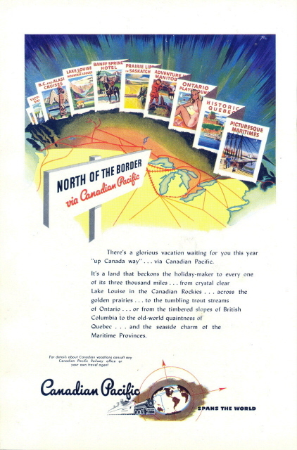 1946 Canadian Pacific Railroad Canadian vacation print ad