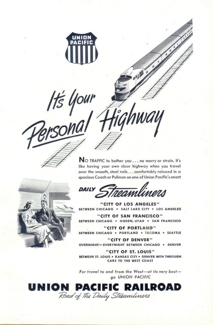 1948 Union Pacific Railroad Daily Streamliners print ad
