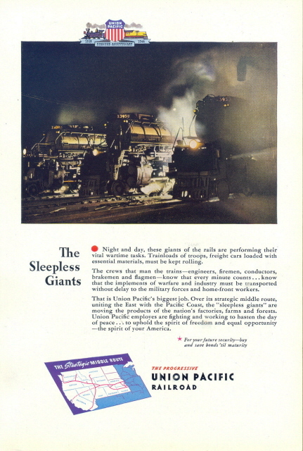 1944 Union Pacific Railroad Sleepless Giants print ad