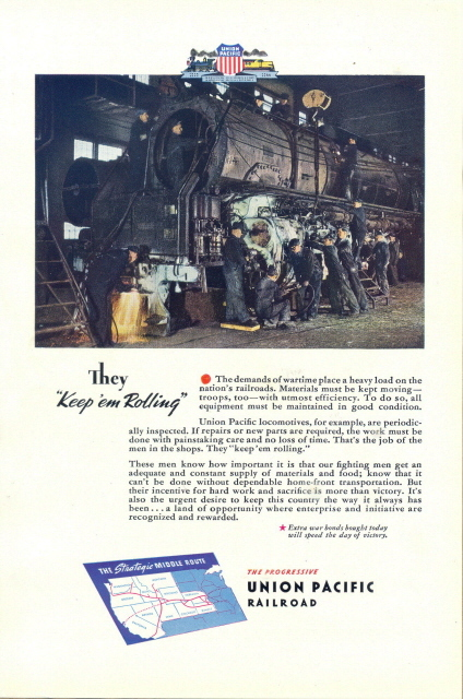 1944 Union Pacific Railroad railway crew working print ad