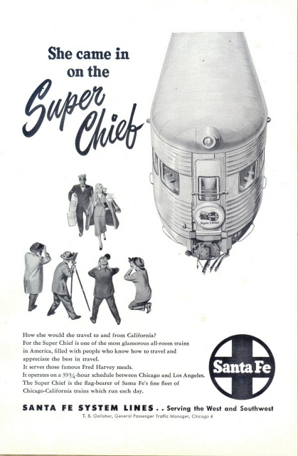 1948 Santa Fe Super Chief glamorous train graphic print ad