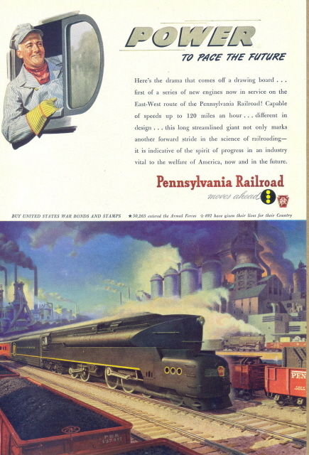 1944 Pennsylvania Railroad smiling driver graphic print ad