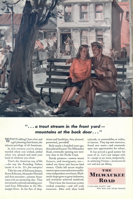 1944 The Milwaukee Road young couple talking print ad