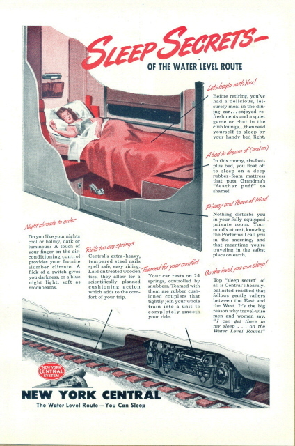 1946 New York Central Railroad water level route print ad