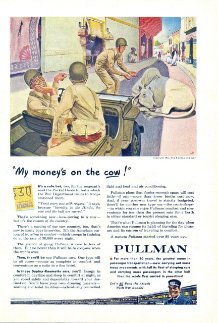 1944 Pullman Train Army GI with cattle graphic print ad