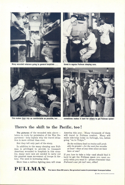 1945 Pullman Train wartime welfare comfort service print ad