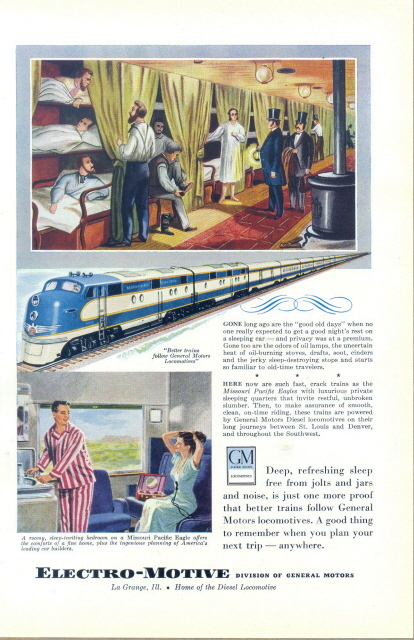 1949 GM Electro-Motive Diesel Locomotive Train print ad