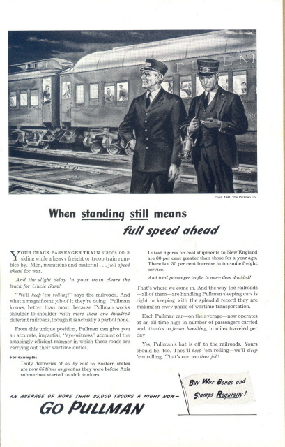 1943 Go Pullman Train Railroad Railway station crew print ad