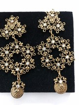 Jose' Maria Barrera for Avon Clip-On Dramatic Gold/Sparkly Chandelier Earrings - $59.37