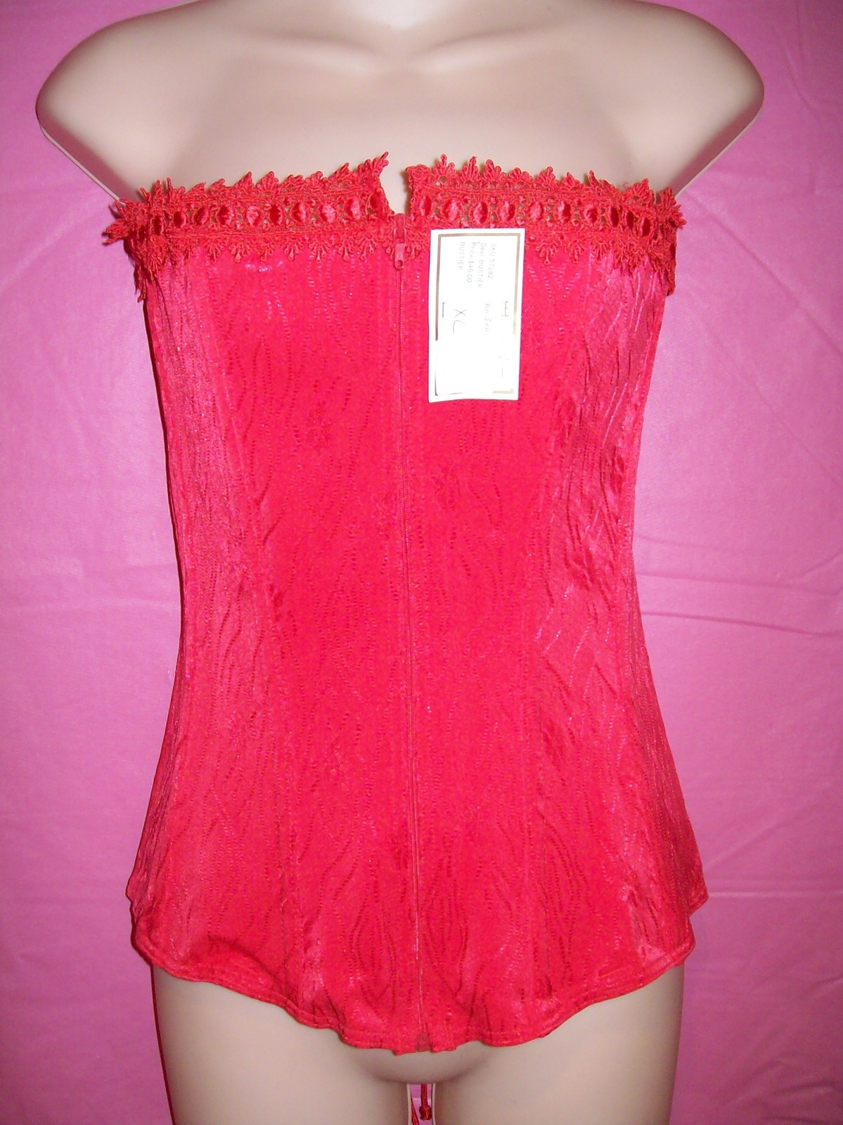 D'Elegance Lingerie Red Strapless Lace-up and Zippered Jacquard Corset: XL