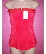 D'Elegance Lingerie Red Strapless Lace-up and Zippered Jacquard Corset: XL - $41.99