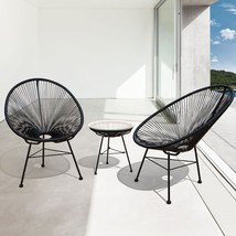 Modern Wicker Patio Chairs (Set Of 2) Outdoor Dining Conversation Seats - $212.90
