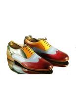 Handmade Multi Color Wingtip Leather Shoes, Men Brogue Stylish Shoes, Me... - $139.99+