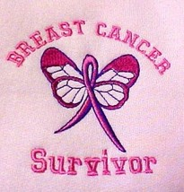 Breast Cancer Survivor Sweatshirt M Awareness Ribbon Butterfly Pink Crew Neck - $29.07
