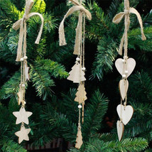 CHRISTMAS DECOR LONG HANGING WOOD CRAFT XMAS DECORATION PENDANT JUTE ROP... - $6.85