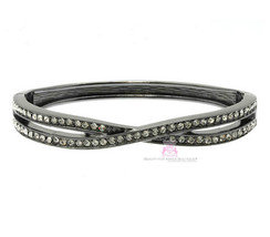 Love Beauty for Ashes Hematite Clear Pave Crystal Curved Hinged Cuff Bra... - $23.85