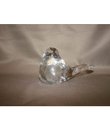 Clear Glass Bird Paperweight w/Control Bubbles Nesting Stance - $8.99