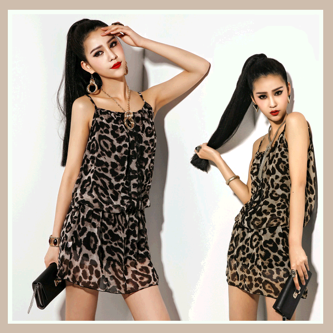 Chiffon and Sheer Lace Large Leopard Print Spaghetti Strap Mini Dress