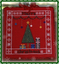 Merry Christmas holiday cross stitch chart Lindsay Lane Designs - $7.20