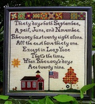 Thirty Days Hath September cross stitch chart Lindsay Lane Designs - $10.80