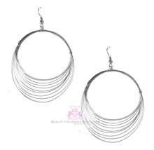 Beauty for Ashes Whisper Silvertone Layered Hoop Dangle Silver Metal Ear... - $17.95