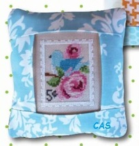 May 5  cent Special Delivery Postage Stamp pillow cross stitch kit Pine Mtn  - $16.20