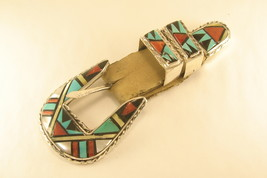 Belt buckle sterling silver Zuni inlay - $265.00