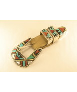 Belt buckle sterling silver Zuni inlay - $265.00