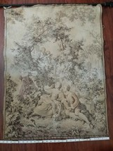 VINTAGE TAPESTRY country scene 1700's-early 1800's some fade tan and green - $50.00