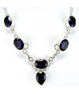 Purple Ovals + a Teardrop of Table-Top faceted Amethyst Sterling Silver ... - $127.00