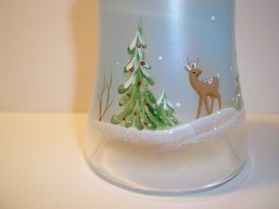 "Fenton Glass WHISPERING WOODS 7"" BELL French Opal Iridized w Deer CHRISTMAS 2010"