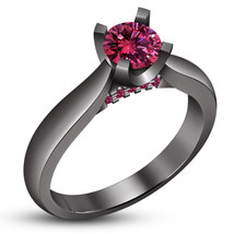 Ladies Engagement Ring Black Gold Over 925 Silver Charm Round Cut Pink S... - $75.99