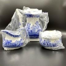 Spode Blue Italian S/3 Coffee Set Pot / Sugar Bowl / Creamer NIB - $494.99