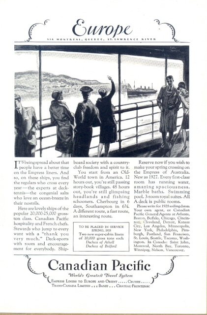 1927 Canadian Pacific Empress Liners Europe travel print ad